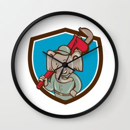 Elephant Plumber Monkey Wrench Crest Cartoon Wall Clock