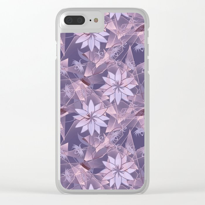 The floral pattern. Lilac flowers on abstract background. Clear iPhone Case