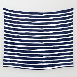 Navy Blue Stripes on White II Wall Tapestry