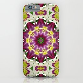 Daylily mandala 1, red-violet, cream and yellow iPhone Case