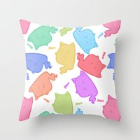 mew Throw Pillows featuring Mew-Boo by Lixxie Berry Illustration