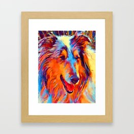 Collie Watercolor Framed Art Print