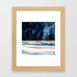 Navy Blue, Gold And White Abstract Watercolor Art Framed Art Print
