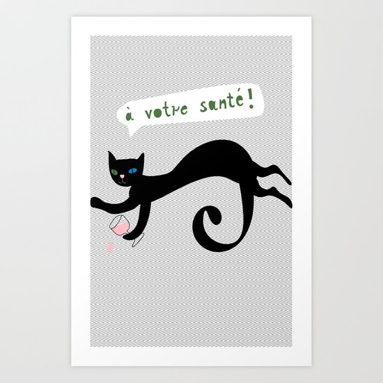 party animals - french cat Art Print