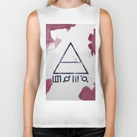 30 seconds to mars Biker Tanks featuring 30 Seconds of Mars Watercolor by sky0323