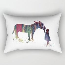donkey and child art Rectangular Pillow