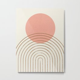 Pink Sun Mid-Century Full Metal Print