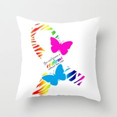 You can't have a Rainbow without the Rain - Awareness Ribbon - Commissioned Work Throw Pillow