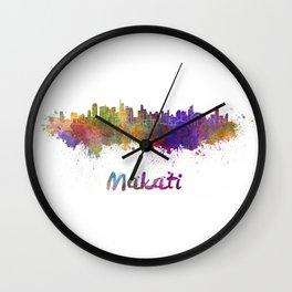 Makati skyline in watercolor Wall Clock