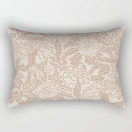 Marigold Flowers Block Print (Neutral Tones) Rectangular Pillow