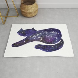 Watercolor Galaxy Cat - purple Rug