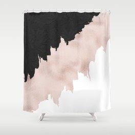 Modern black lace pink rose gold brushstrokes Shower Curtain