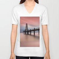 wooden V-neck T-shirts featuring  Wooden Pier by davehare