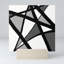Geometric Line Abstract - Black Gray White Mini Art Print