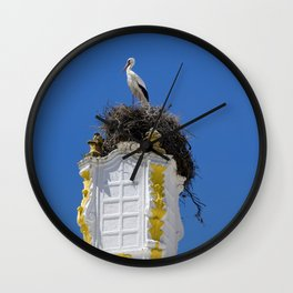 Baroque stork's nest Wall Clock
