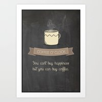 Coffee o' Clock Art Print