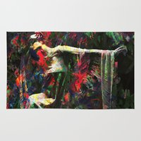 kandinsky Area & Throw Rugs featuring Lady of the Garden by Mark Compton