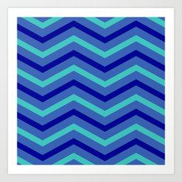 Blue Stripe Chevrons Art Print