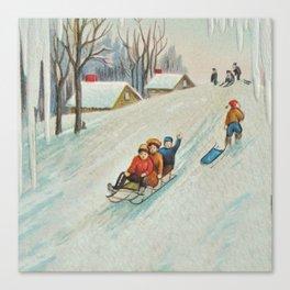 Happy vintage winter sledders Canvas Print