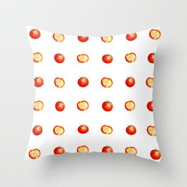 watercolor cut red tomatoes with slices pattern Throw Pillow