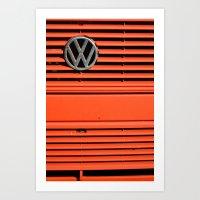 volkswagen Art Prints featuring Red Volkswagen by Marieken