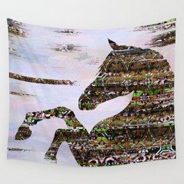 Mixed media abstract horse composition Wall Tapestry