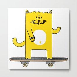 Cat on skateboard Metal Print