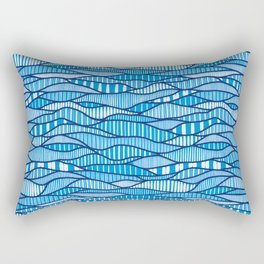 Modern Blue Waves (Azure Color Scheme) Rectangular Pillow