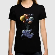 Space travel Womens Fitted Tee LARGE Black