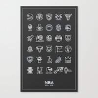 nba Canvas Prints featuring NBA Team logos (white) by Will Wild