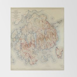 Map of Acadia National Park, Maine (1942) Throw Blanket