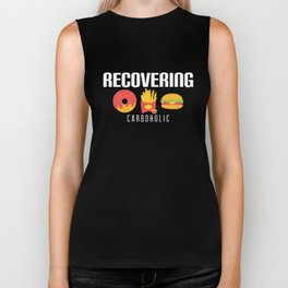 Cute & Funny Recovering Carboholic Carb Dieting Biker Tank