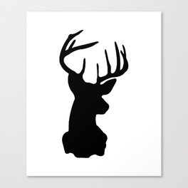 Black & White Stag Head Canvas Print