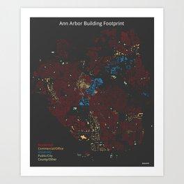 Ann Arbor Building Footprint Art Print