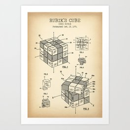 Rubik's cube vintage Art Print
