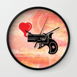 Pistol Blowing Bubbles of Love Wall Clock