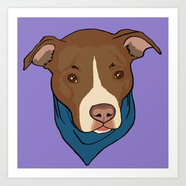 Pit Bull wearing Bandana Purple Art Print