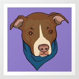 Pit Bull wearing Bandana Purple Art Print