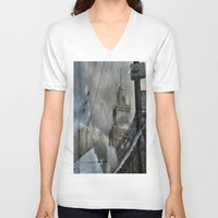 moscow V-neck T-shirts featuring Moscow Reflected by Brandon Beacon Hill