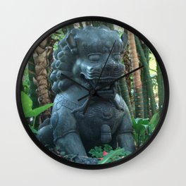 Lion Statue in the Tropics Photography Wall Clock