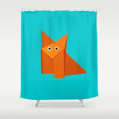 Cute Origami Fox Shower Curtain