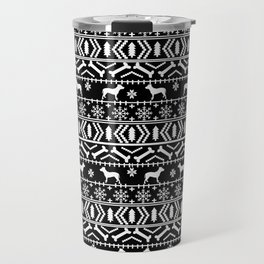Pitbull fair isle christmas holidays black and white dog breed silhouette pattern Travel Mug