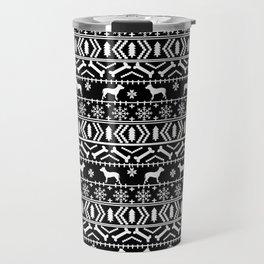 Pitbull fair isle christmas holidays black and white dog breed silhouette pattern Travel Mug