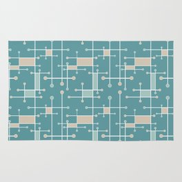 Intersecting Lines in Teal, Tan and Sea Foam Rug