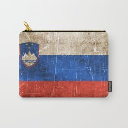 Vintage Aged and Scratched Slovenian Flag Carry-All Pouch