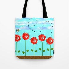 Sunflowers and bee Tote Bag