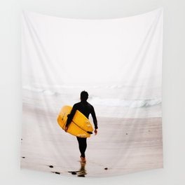 Yellow surf surfer Wall Tapestry