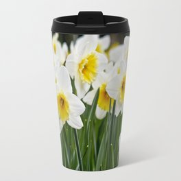 Close-up of a Field of White and Yellow Daffodils in Amsterdam, Netherlands Travel Mug