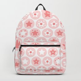 Geometric pink girls kids circles and stars seamless pattern on white background Backpack