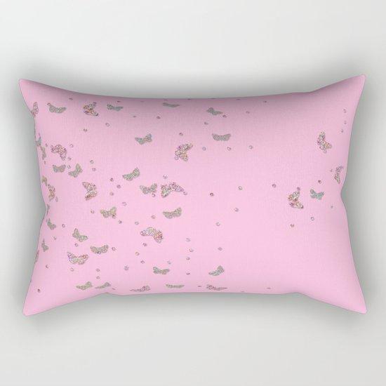 Animal - Animals Butterflies Butterfly diamonds and glitter effect on pink Rectangular Pillow